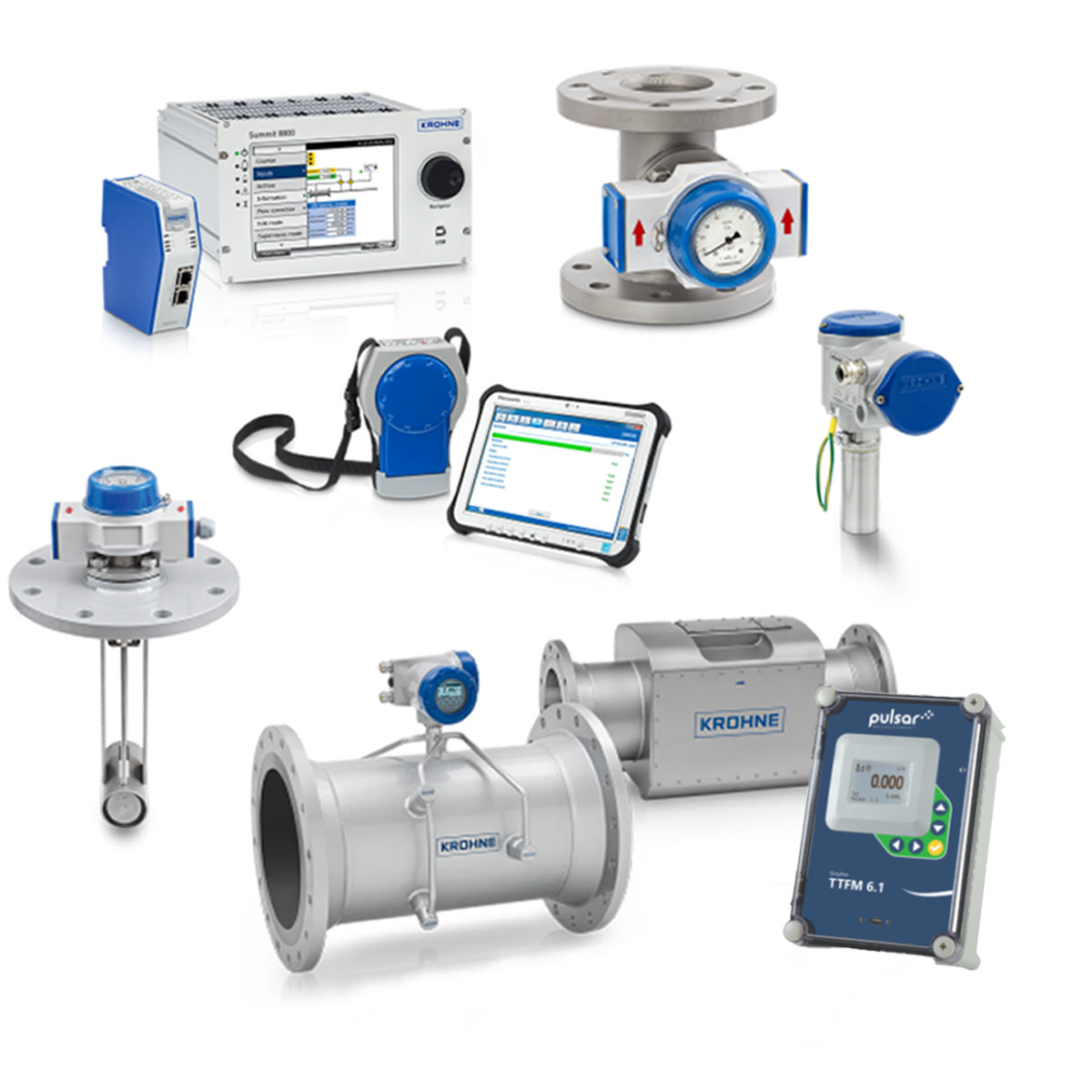collage of flow measurement products